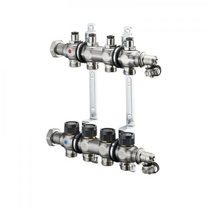 """Распределительный коллектор, Oventrop, 1"""", Multidis SF 2, количество контуров-2, выход-3/4"""" ЕК, нержавеющая сталь, со встроенными регулирующими вставками на подаче, для панельного отопления и охлаждения, с плоским уплотнением, с вентильными вставками М 30 x1,5 для термостатического и электронного регулирования"""