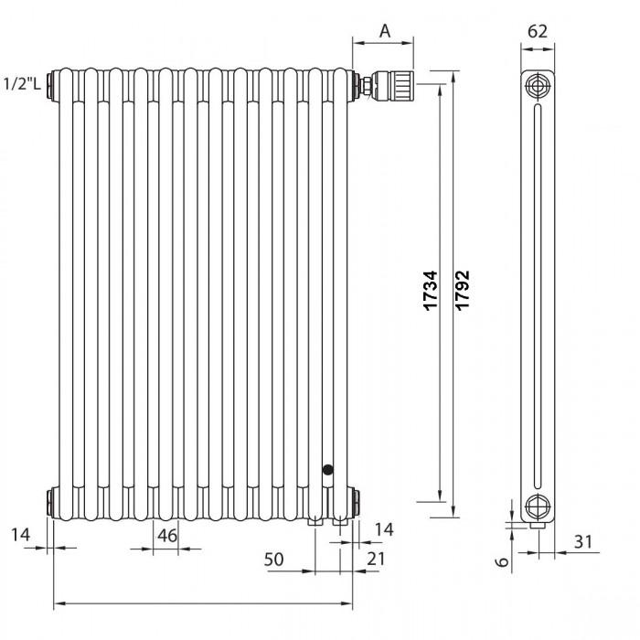 "Радиатор Zehnder Charleston Completto 2180 - 8 секций нижнее подключение V001 1/2"" RAL 9016"